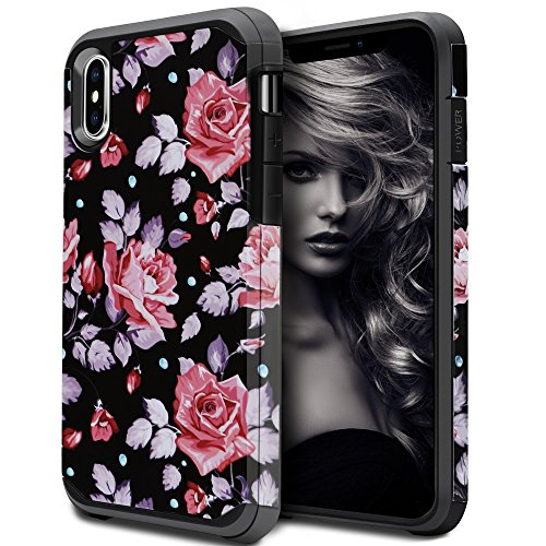 iPhone X Case for Girls Women, iPhone X Floral Case, OEAGO Shockproof Heavy Duty Protection Dual Layer Armor Protective Case Cover for Apple iPhone X (Rose Flower)