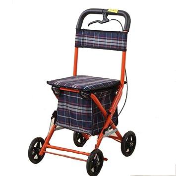 Gravity Caminante para Ancianos con Asiento con 4 Ruedas Y Freno, Asiento Y Bolsa De Transporte, Puede Subir Y Bajar Escaleras,Blue-Ordinary: Amazon.es: ...