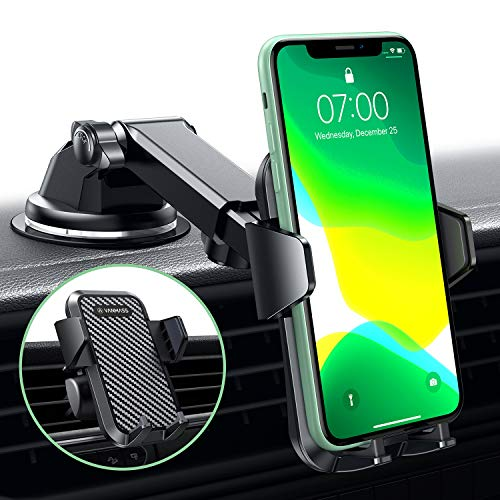 VANMASS Car Phone Mount, Dashboard Windshield Air Vent Cell Phone Holder for Car with Telescopic Arm & Dashboard Pad, Strong Sticky Suction, One Button Release Car Cradle, Compatible iPhone Samsung