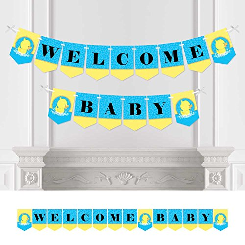 Big Dot of Happiness Ducky Duck - Baby Shower Bunting Banner - Blue Party Decorations - Welcome Baby