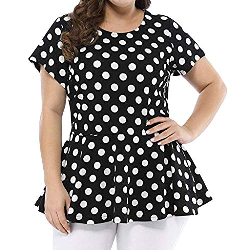 Londony ◈ Women's Floral Printing Shaping Body Plus Size Polka Dot Short Sleeve Summer Top Casual Scoop Neck Tops Tee Black