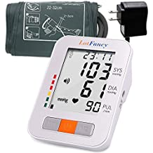 LotFancy Talking Blood Pressure Monitor Machine with AC Adapter and Upper Arm BP Cuff, 2 User Mode, IHB Detector, Easy to Read LCD, FDA Approved (Talking + Adapter + M Cuff 9 -13 Inches)