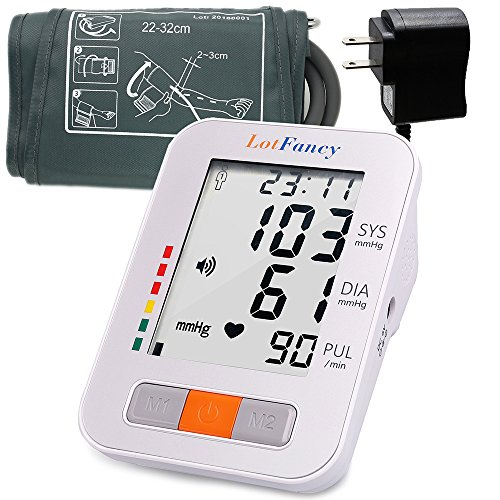 LotFancy Talking Blood Pressure Monitor Machine with AC Adapter and Upper Arm BP Cuff, 2 User Mode, IHB Detector, Easy to Read LCD, FDA Approved (Talking + Adapter + M (Pressure Machine)