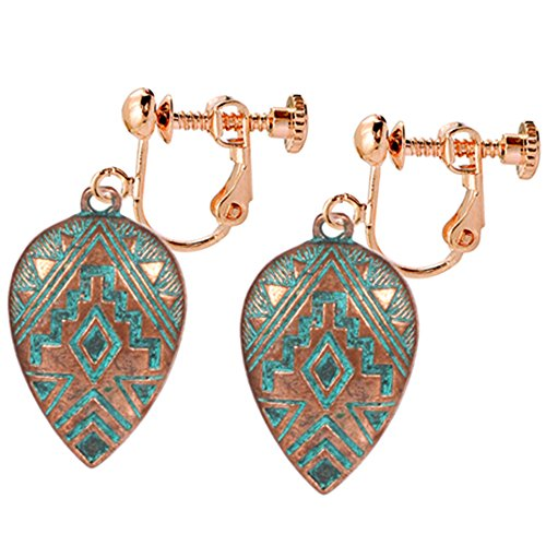 - Clip On Earrings Waterdrop Pattern Earrings Dangle Delicate Rose Gold Plated Fashionable Casual Gift
