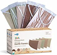 WeCare Disposable Face Masks For Kids, 50 Assorted Earth Tone Print Masks, Individually Wrapped
