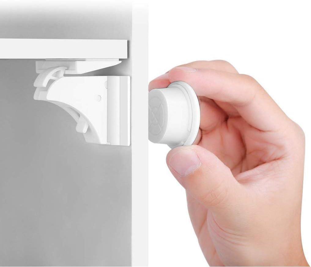 BALFER® Cerraduras Invisible Magnéticas de Seguridad para Niños, Cierres de seguridad Para Cajones Armarios,Bloqueo,Sin Perforaciones (16 cerraduras + 3 llaves)