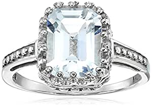 White Topaz Emerald Cut Ring in Sterling Silver, Size 6