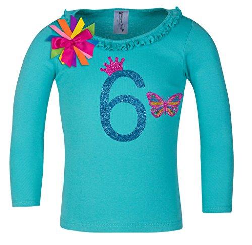 Birthday Diva T-shirt (Bubblegum Divas Little Girls' 6th Birthday Butterfly Teal Ruffle Long Sleeve Shirt)