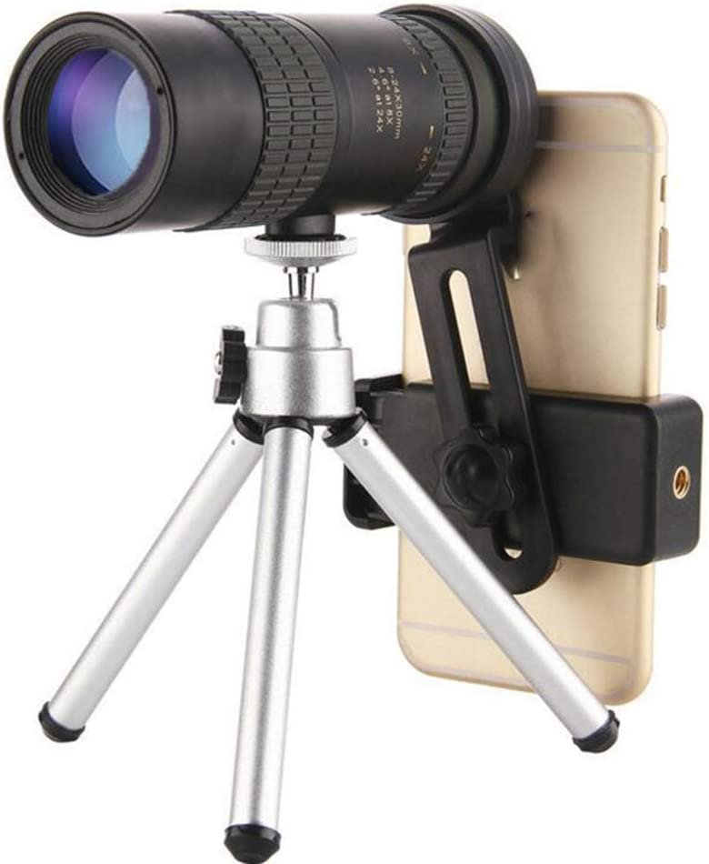 10-300x40mm Super Telephoto Zoom Monocular Telescope,Monocular Telescope with Phone Holder and Tripod for Beach Travel (with Tripod and Clip, 10-100x30)