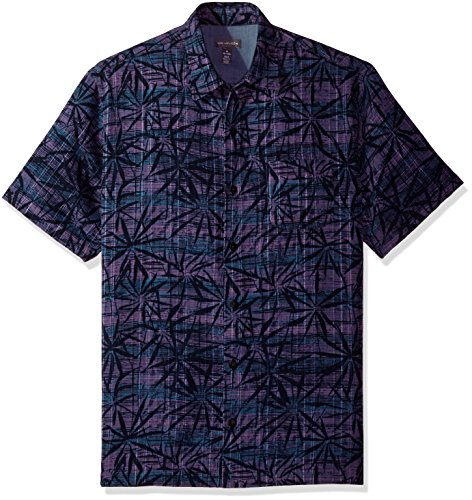 Van Heusen Men's Air Short Sleeve Button Down Tropical Print Shirt, Velvet, Medium ()