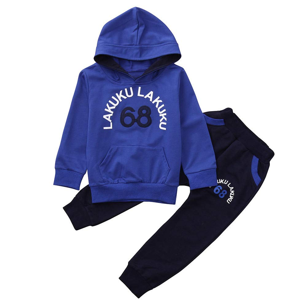 Amazon.com: ❤ Mealeaf ❤ Toddler Outfit Kids Baby Boys T Shirt Letter Print Hooded Sweatshirt Tops + Pants Clothes Set 0-4t: Clothing