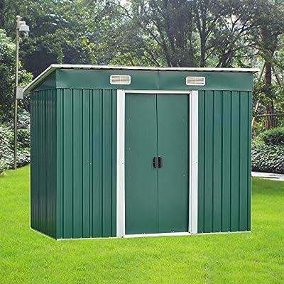 Volowoo cobertizo de jardín de 8 x 4 pies, Almacenamiento de Metal para jardín con Base Gratuita, con garantía Limitada de 10 años de óxido, Verde: Amazon.es: Jardín
