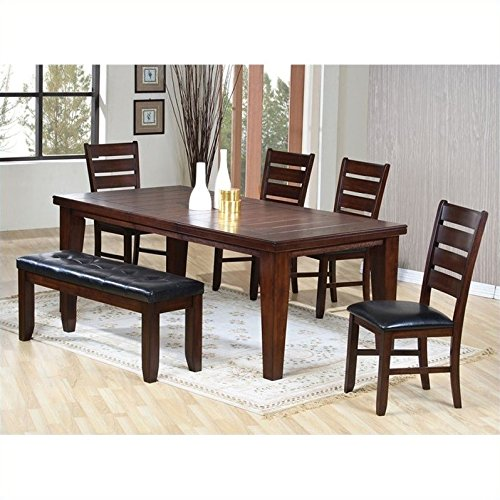 coaster-casual-dining-table-with-4-side-chairs-and-bench-in-oak