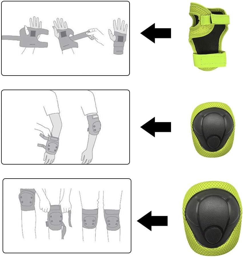 Juego de almohadillas de rodilla de mu/ñequera de codo para ni/ños Equipo para el patinaje de ni/ños Equipo de protecci/ón para patinaje en l/íne Equipo de protecci/ón Juego de almohadillas de rodilla para ni/ños
