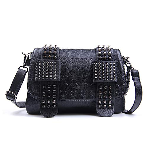 SUKUTU Womens Punk Skull Print Crossbody Bag PU Leather Gothic Skull Shoulder Bag Purse with Chain ()