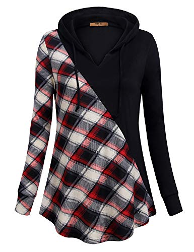 - MCKOL Hooded Sweatshirt,Long Sleeve Tunic Hoodie Contrast Color Pullover Knit Tops Curved Hem with Pockets Red Beige Medium