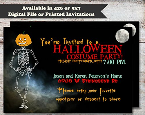Pumpkin Head Skeleton Halloween, Costume or Birthday Party Invitation, Set of 10 5