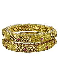 Matra Goldtone Designer 2 Pcs Screw Lock Bangle Set Kada Bracelets Ethnic Jewelry