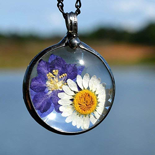 Handmade Wildflower Necklace Real Pressed Flowers in Glass Pendant, Natural Terrarium Jewelry Daisy & Larkspur July Birth Flower 2751
