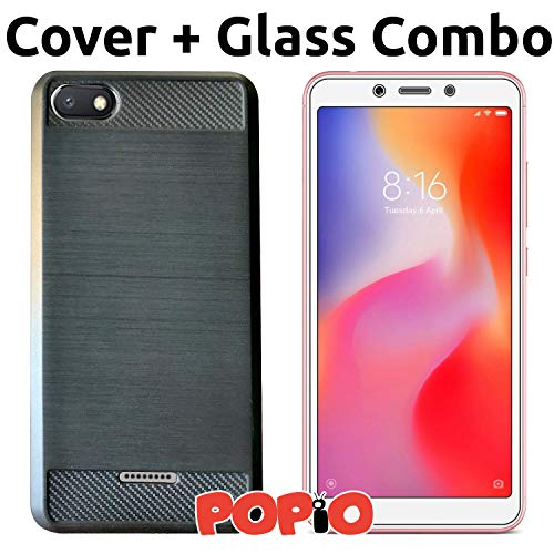 POPIO Back Cover Case and Tempered Glass Combo for Xiaomi Redmi 6A