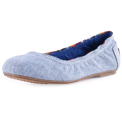 Toms Ballet Flat Light Navy Chambray 10004723 Youth 4