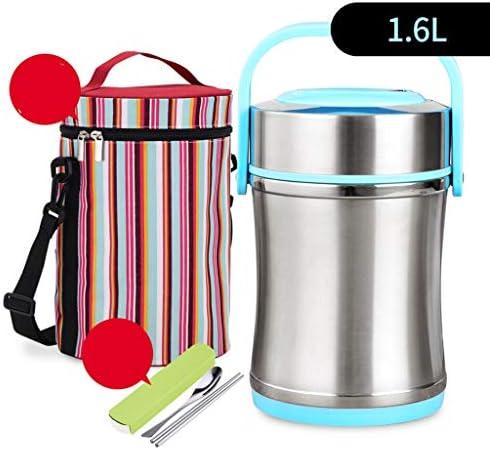 保温 弁当箱 漏れ防止真空断熱食品容器ランチボックスBPAフリーポータブル、魔法瓶ステンレス食品フラスコ (Color : Blue, Size : 1600ml)
