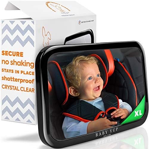 Baby Car Mirror for Rear Facing Car Seat - Fully Adjustable, Shatterproof, And Built To Stay In Place - Best Extra Large Back Seat Car Baby Mirror To Check On Your Baby While Driving