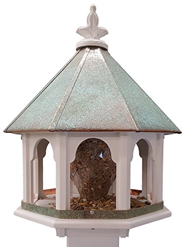 - NC Birdguy Octagon Wild Bird Feeder Solid Cellular PVC Patina Roof Made in The USA (SBF8V)