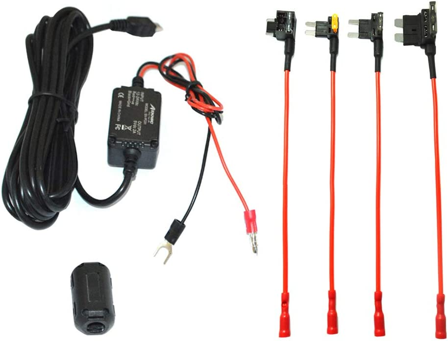 Operation Manual Included 11.5FT Mini USB Hard Wire Kit Fuse for Car Dash Camera,12V-30V to 5V 2A Hardwire Dash Cam Kit with Battery Protection,Gift 4 Fuse Tap Cables Meknic Dash Cam Hardwire Kit