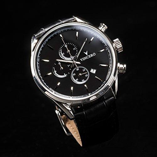 936e0bf39dd9 Vincero Luxury Men s Chrono S Wrist Watch - Top Grain Italian Leather Watch  Band - 43mm