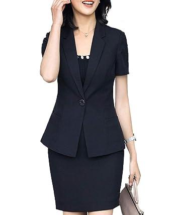 Women 2 Pieces Dress Skirt Slim Fit Office Lady Blazer Suit Set at ... ce4689ab8f