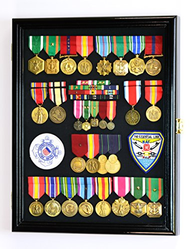 Military-Medals-Pins-Patches-Insignia-Ribbons-Flag-Display-Case-Cabinet-Black