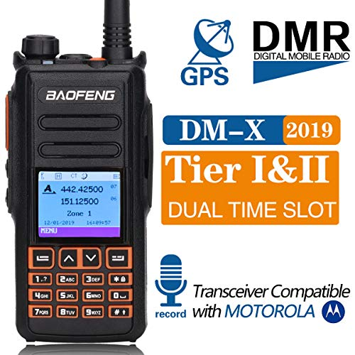 Baofeng DM-X DMR GPS Record Tier 1&2 Dual Time Slot Dual Band Digital/Analog Two Way Radio Compatible with Motorola