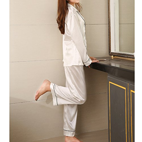 White Per Set Pajama Cotone Indumento Da Lunga Letto Donna Notte Morbido Camicie Da Manica Owr1Ogq