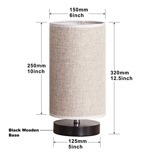 Lifeholder Table Lamp, Bedside Nightstand Lamp, Simple Desk Lamp, Fabric Wooden Table Lamp for Bedroom Living Room Office Study, Cylinder Black Base by lifeholder (Image #3)