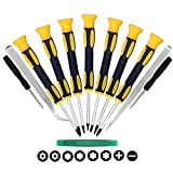Kingsdun 12 in 1 Torx Screwdriver Sets with T3 T4 T5 T6 T7 T8 T10 Star Screwdrivers, Stainless Steel Tweezers & Slotted Phillips Tip Magnetic Screwdrivers for Phone/Mac/Computer Repairing