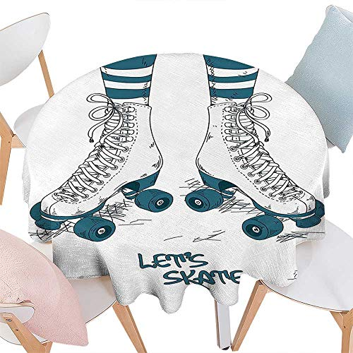 Cheery-Home Spillproof Fabric TableclothFun White 1940s Decor Illustration Girls Legs in Stripes Stockings Retro Roller Skates Teen Image Teal White. Suitable All Occasions,(61