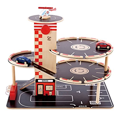 Park and Go Kids Wooden Toy Car Garage Playset by Hape | Car Ramp with Four Parking Levels, 2 Toy Cars, 1 Toy Helicopter, an Elevator and Fueling Station ()