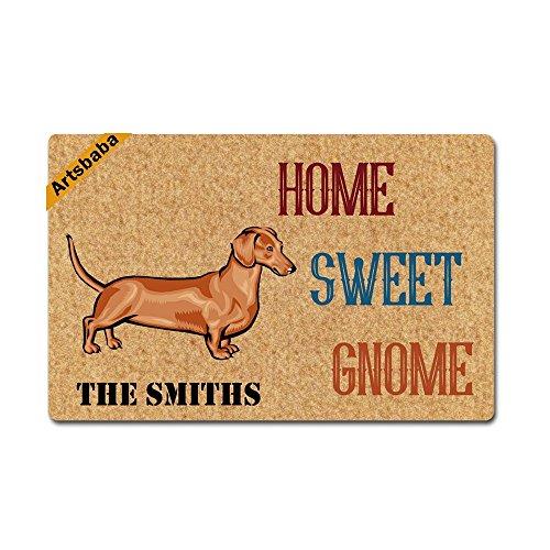 (Megamagci Personalized Doormat Dachshund Home Sweet Gnome Doormats Monogram Non-Slip Doormat Non-woven Fabric Floor Mat Indoor Entrance Rug Decor Mat)