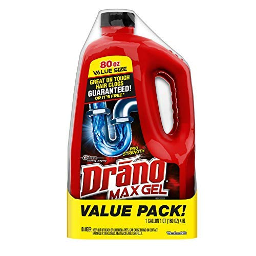 Drano Max Gel Clog Remover, 80 Fl. Oz (2 Count) (Best Solution For Clogged Toilet)