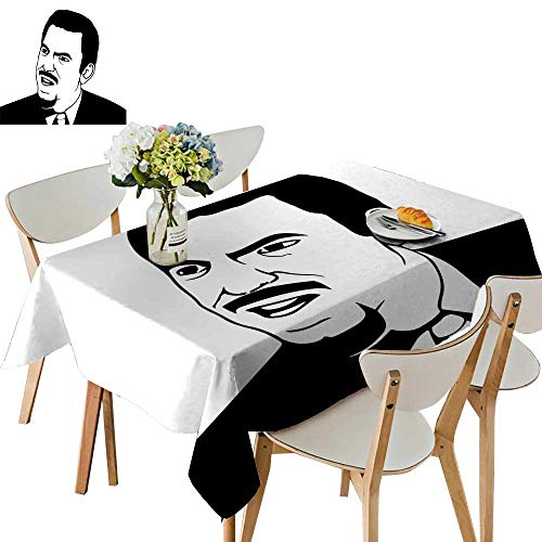 (UHOO2018 Printed Fabric Tablecloth Square/Rectangle Man Stylized Rage Comics Smiley Emoti line Black White Wedding Party Restaurant,54)