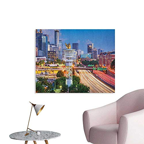 Anzhutwelve United States Wallpaper Atlanta Georgia Urban Busy Town with Skyscrapers City Landscape Space Poster Pale Blue Yellow Coral W36 xL24