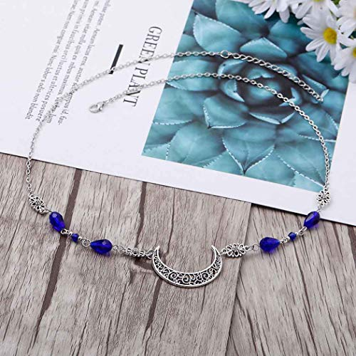 Yalice Boho Crescent Moon Head Chain Vintage Blue Crystal Headband Hair Acessories for Women and Girls (Silver-2)