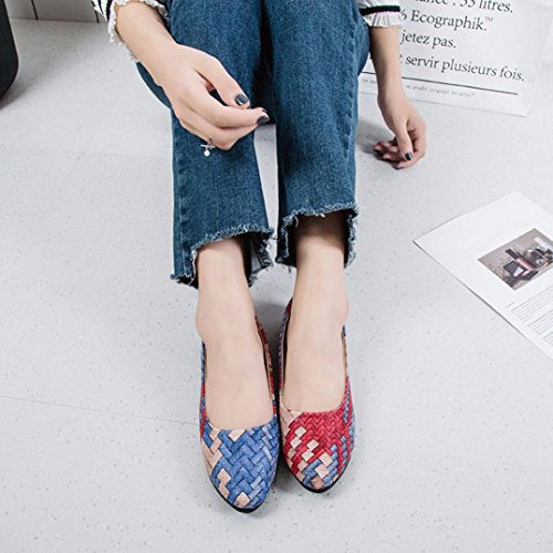 Women Classy Ballerinas Plaid Elegant Dress Western Kingfansion Pumps Flat Blue Style gITwqdYX
