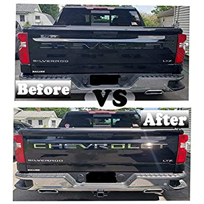 KENPENRI Tailgate Insert Letters for 2020 2020 Chevrolet Silverado - 3M Adhesive & 3D Raised Tailgate Letters - Chrome Silver: Automotive