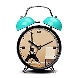 Blue Alarm Clock, Retro Portable Twin Bell Beside Alarm Clocks with Nightlight-230.Eiffel Tower Detailed Large Wall Decal Sticker Home Decoration Decor