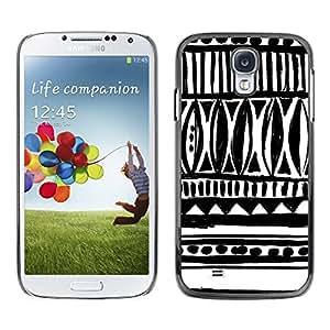 [Neutron-Star] Snap-on Series Teléfono Carcasa Funda Case Caso para Samsung Galaxy S4 [Dibujado Arte tinta blanca Negro Chevron]