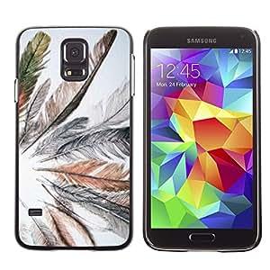 Exotic-Star ( Grey Bird Feather Spring Indian ) Fundas Cover Cubre Hard Case Cover para SAMSUNG Galaxy S5 V / i9600 / SM-G900F / SM-G900M / SM-G900A / SM-G900T / SM-G900W8