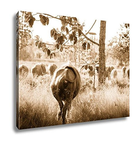 Ashley Canvas Thai Buffalo Life Machine of Farmer, Wall Art Home Decor, Ready to Hang, Sepia, 16x20, AG6343645 by Ashley Canvas