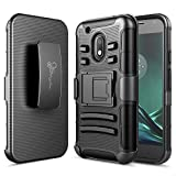 Moto G4 Play Case, Nagebee - High Impact Resistant Black Dual Layer Armor Holster with Belt Clip Case for Motorola Moto G4 Play(2016) Release (Black)